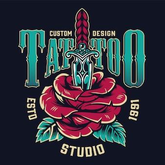 Vintage tattoo studio kleurrijke label