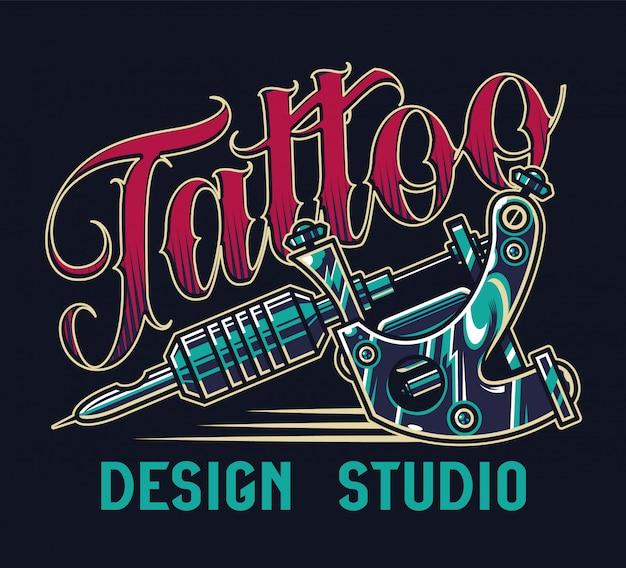 Vintage tattoo studio kleurrijke print