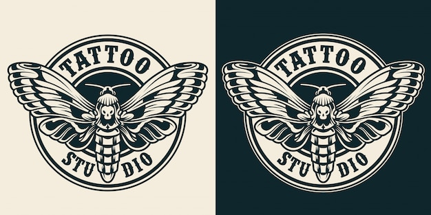 Vintage tattoo studio rond label
