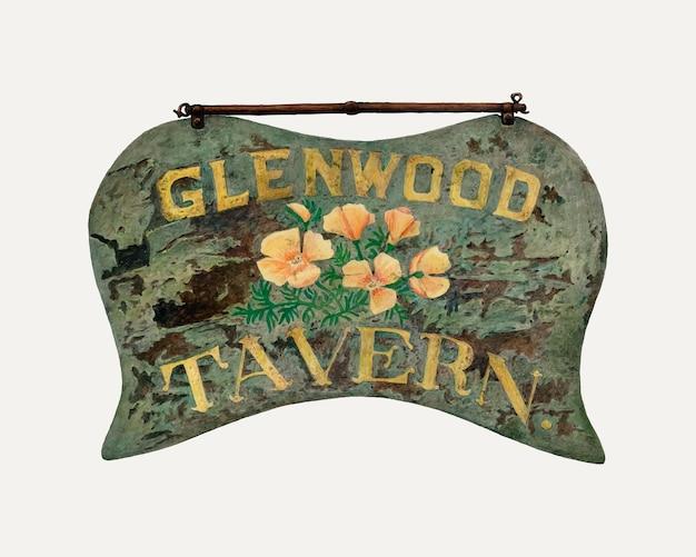 Vintage taverne teken illustratie vector, geremixt van het kunstwerk door robert wr taylor