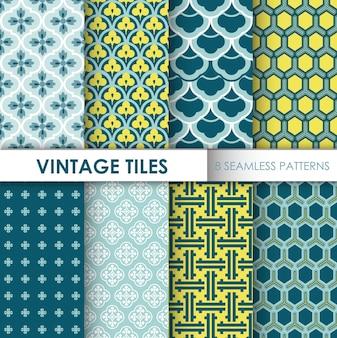 Vintage tegel achtergronden 8 naadloze patronen