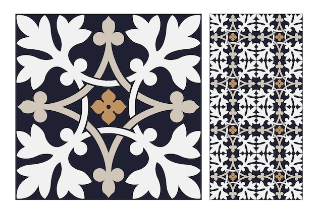 Vintage tegels antiek naadloos patroon