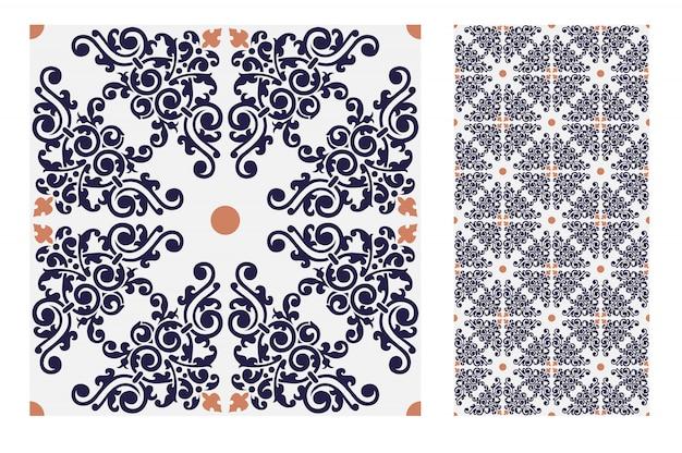 Vintage tegelspatronen antiek naadloos ontwerp in vectorillustratie
