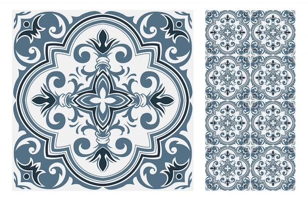 Vintage tegelspatronen antiek naadloos ontwerp