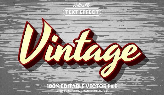 Vintage tekst, bewerkbaar teksteffect in lettertypestijl