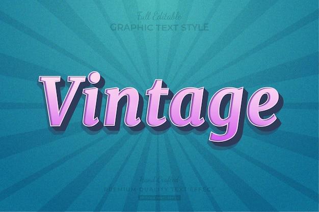 Vintage teksteffect bewerkbare premium-lettertypestijl