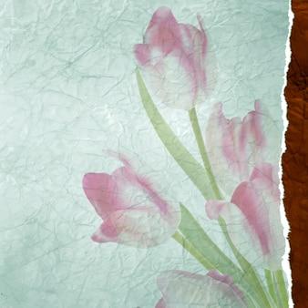 Vintage tekstkader met tulpen, oud papier achtergrond.