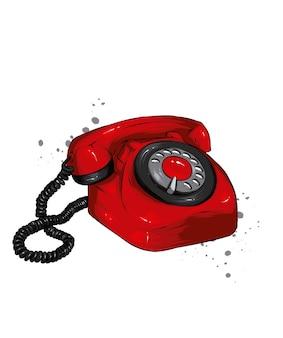 Vintage telefoon illustratie