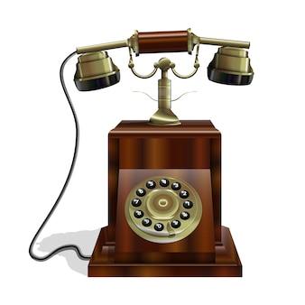 Vintage telefoon met houten body en een gouden buis