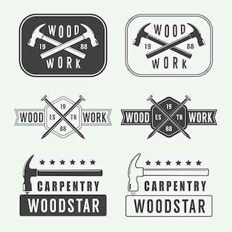 Vintage timmerwerk, houtwerk en mechanisch logo