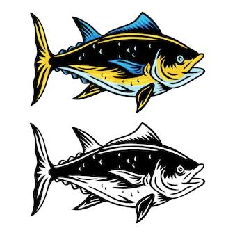 Vintage tonijnvissen retro geïsoleerde illustratie op een witte achtergrond.