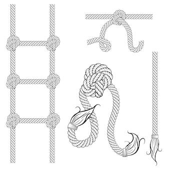 Vintage touw grenskader in vector
