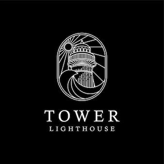 Vintage tower castle vuurtoren met golven monoline logo design