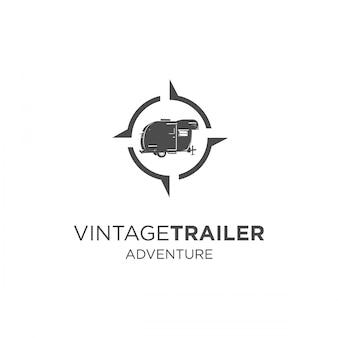 Vintage trailer avontuur silhouet logo