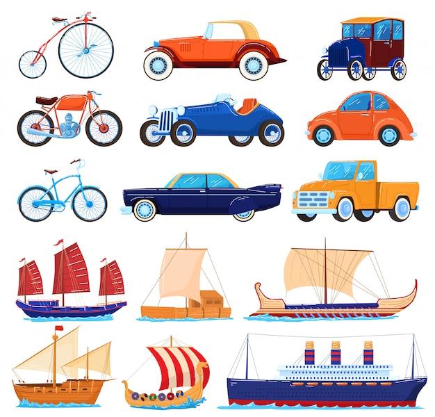 Vintage transport illustraties, cartoon vervoer klassieke set van retro amerikaanse sportwagens, oude fiets, zee boten of schip