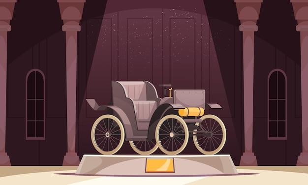 Vintage transportsamenstelling met kolommen van het museumlandschap en open auto die op podium met gouden uithangbord staat