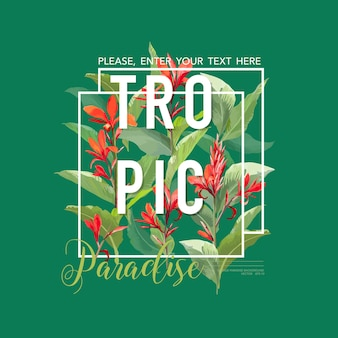 Vintage tropische bladeren en bloemen grafisch ontwerp voor t-shirt, mode, prints in