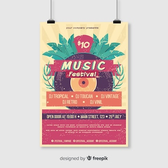 Vintage tropische muziek festival poster sjabloon