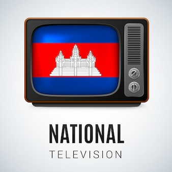 Vintage tv en vlag van cambodja als nationale televisie van het symbool