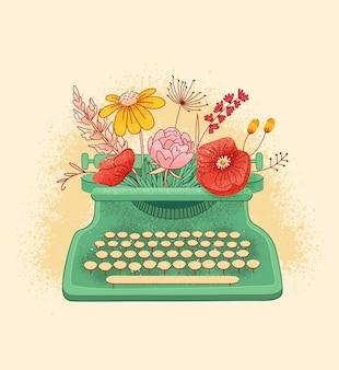 Vintage typemachine machine met bloemen, illustratie.