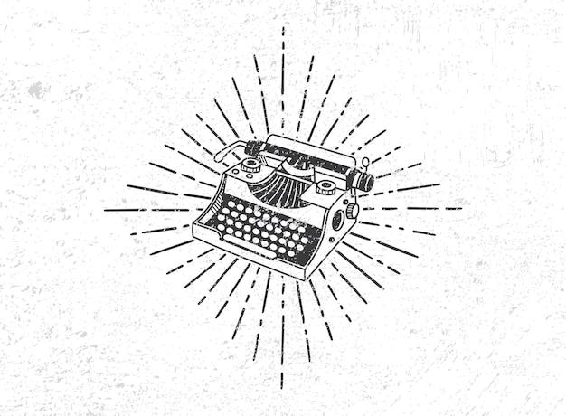 Vintage typemachine met zon burst grunge