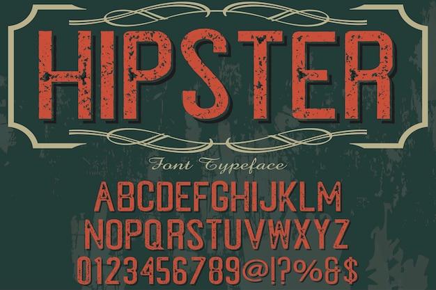 Vintage typografie alfabetische grafische stijl hipster