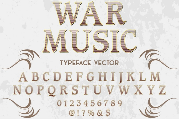Vintage typografie lettertype labelontwerp oorlogsmuziek