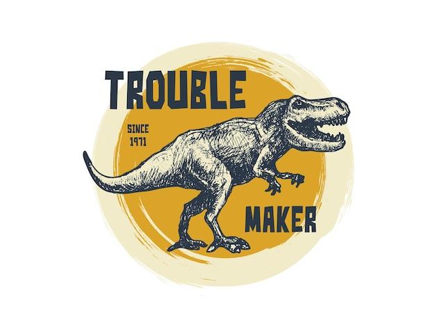 Vintage typografie t-shirt afbeeldingen met trex-gezicht.