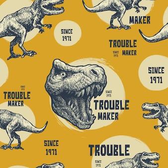 Vintage typografische afbeeldingen met trex. naadloze patroon