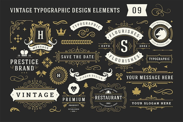 Vintage typografische decoratieve ornament ontwerpelementen instellen