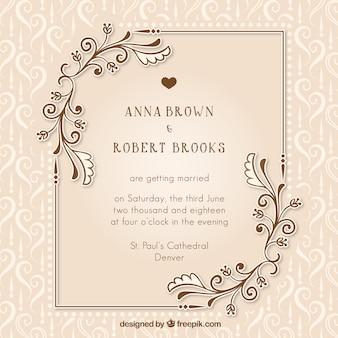 Vintage uitnodiging huwelijk met bloemen details