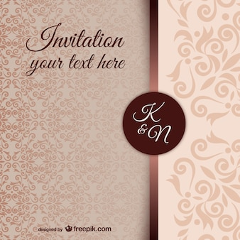 Vintage uitnodiging sjabloon met damastpatroon