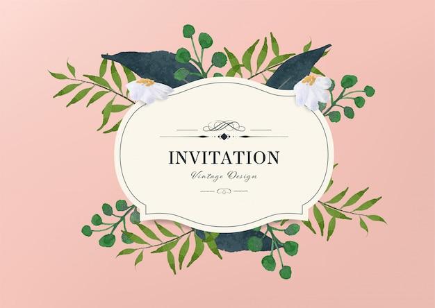 Vintage uitnodigingsontwerp met hand getrokken aquarel penseel. bladeren en takelement.