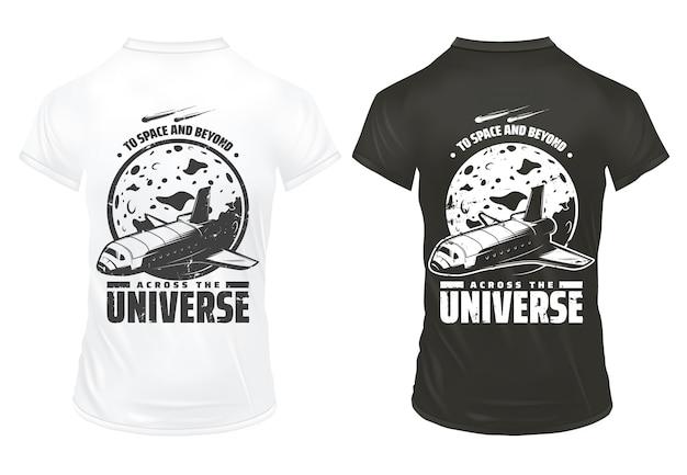 Vintage universum onderzoek prints sjabloon met inscriptie spaceshuttle vallende meteoren en planeet op shirts geïsoleerd