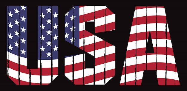 Vintage usa tekst met vlag