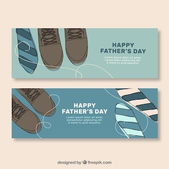Vintage vaderdag banners met schoenen en stropdassen