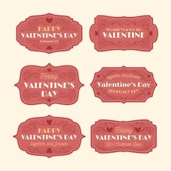Vintage valentijnsdag badge-collectie