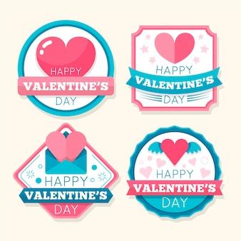 Vintage valentijnsdag badges set