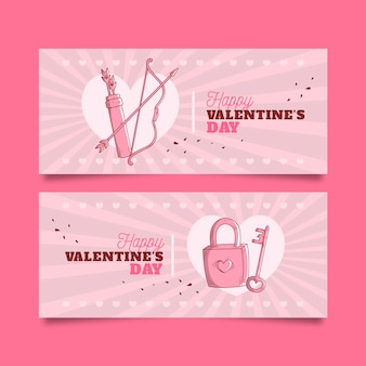 Vintage valentijnsdag banners concept