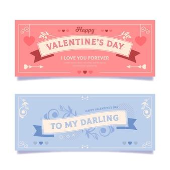 Vintage valentijnsdag banners set