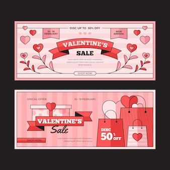 Vintage valentijnsdag banners sjabloon