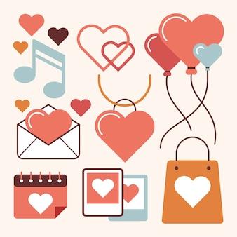Vintage valentijnsdag element collectie thema