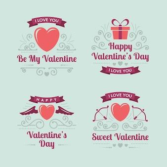 Vintage valentijnsdag etiketten instellen