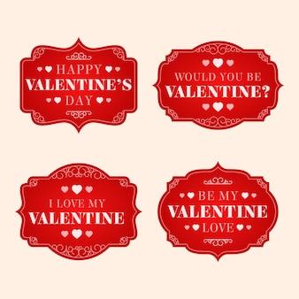 Vintage valentijnsdag etiketten