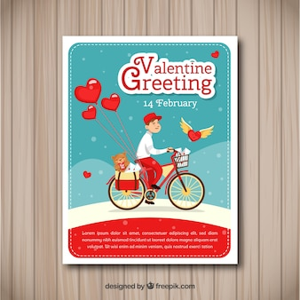 Vintage valentijnsdag kaartsjabloon