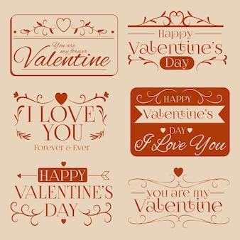 Vintage valentijnsdag label collectie