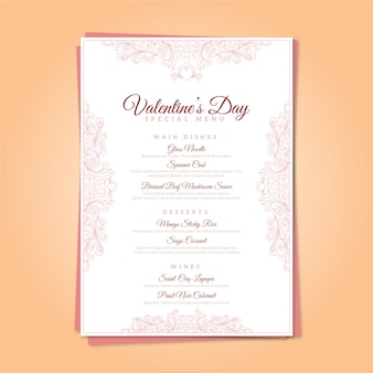 Vintage valentijnsdag menusjabloon