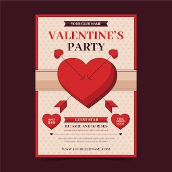 Vintage valentijnsdag partij folder sjabloon