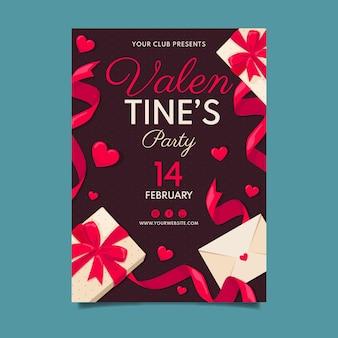Vintage valentijnsdag partij poster sjabloon