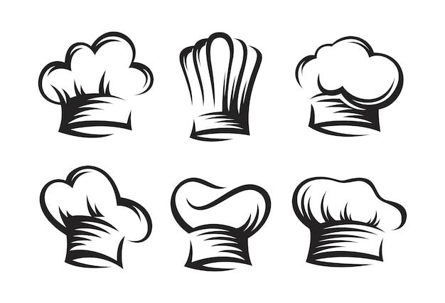 Vintage van chef-kok en kok hoeden instellen